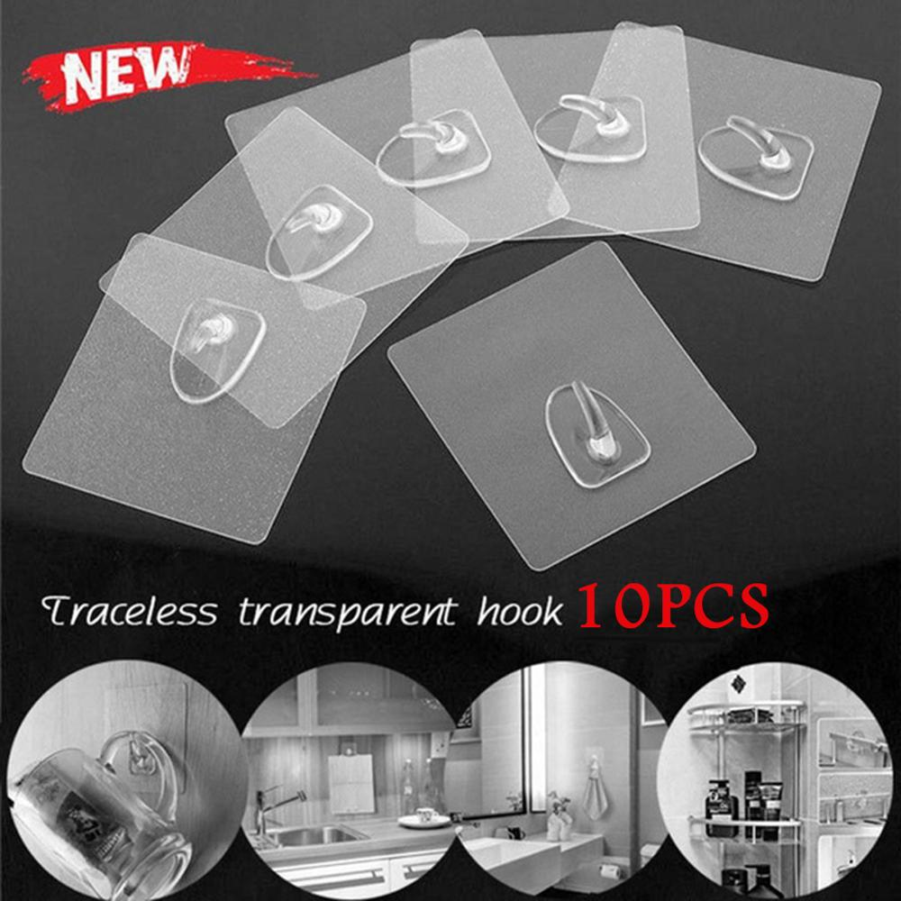 Powerful Hooks Nano No Trace Adhesive Self-adhesive Hook Nail-free Creative Strong Transparent Hook Kitchen Bathroom
