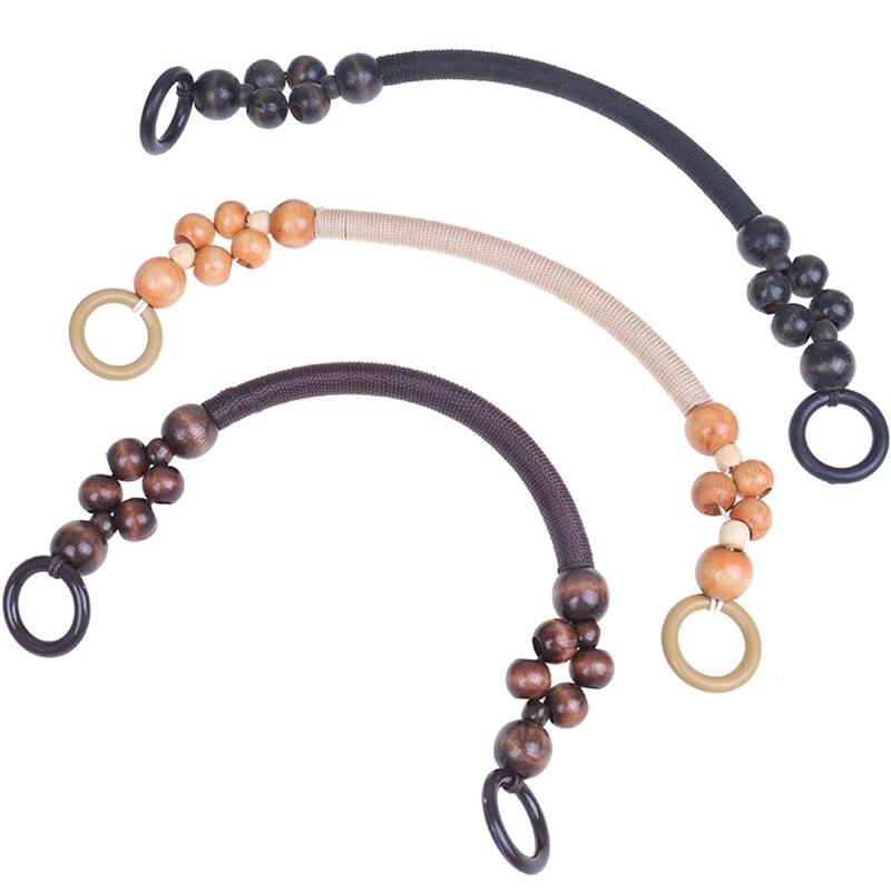 1PCS Wood Bead Rope Bag Strap Handle Shoulder Belt For Handbag DIY Replacement  Shoulder Belt