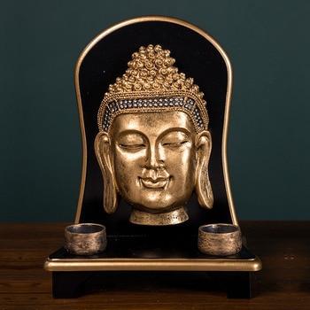 Zen,vintage,Buddha Statue,decoration Creative,resin Crafts,Buddha Face,Buddha Head,candlestick,display,Thai Buddha