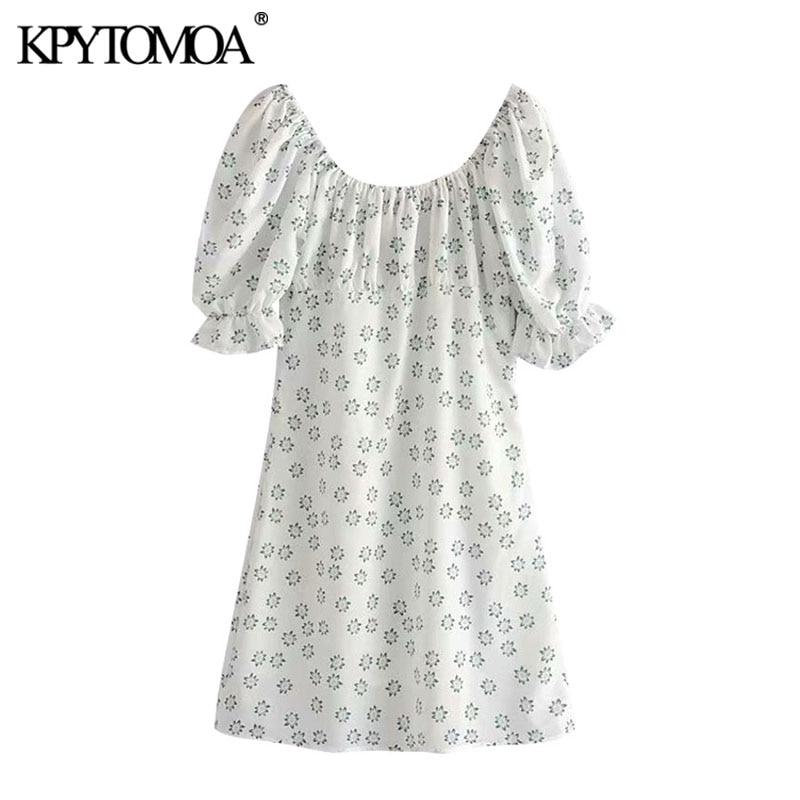 KPYTOMOA Women 2020 Chic Fashion Floral Print Pleated Mini Dress Vintage Square Collar Puff Sleeve Female Dresses Vestidos
