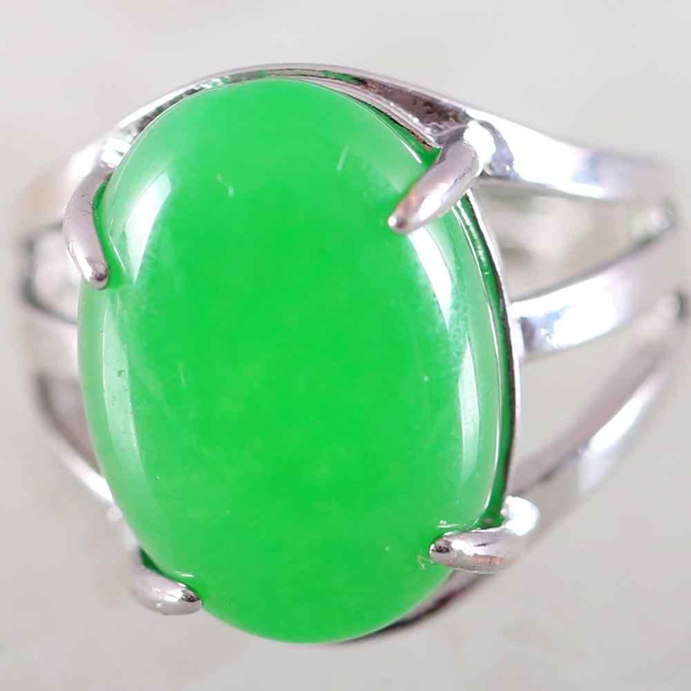 1Pcs แหวนเงินเครื่องประดับสำหรับของขวัญผู้หญิงหินธรรมชาติรูปไข่ Cabochon CAB ลูกปัดสีเขียว Jades แหวนนิ้วปรับได้ k162