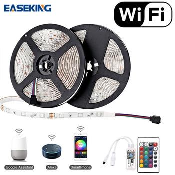 цена на 5m 10m WiFi LED Strip Light Alexa RGB Waterproof SMD 5050 DC12V Flexible Ribbon with WiFi Contoller Smart LED Strip RGB Lighting
