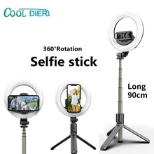 COOL DIER Wireless Bluetooth Selfie Stick Tripod Monopod With LED Ring Photography Light Bluetooth shutter For Smart phone