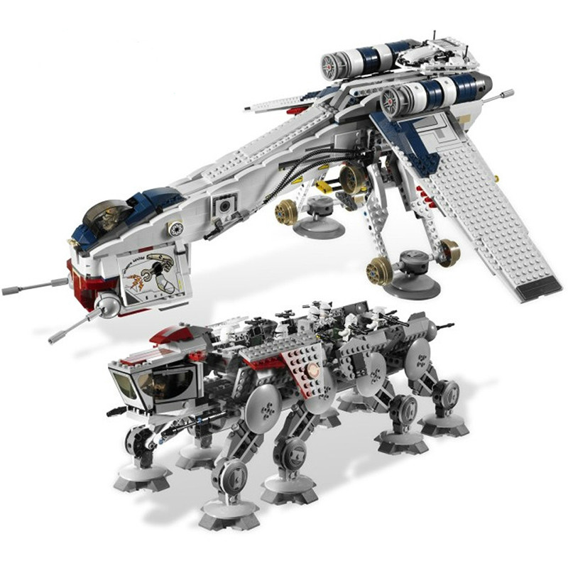 NEW Lepining Star Wars Wooker Gunship Republic Dropship with AT-OT Walker Building Brick Starwar Toys 05053 <font><b>10195</b></font> image