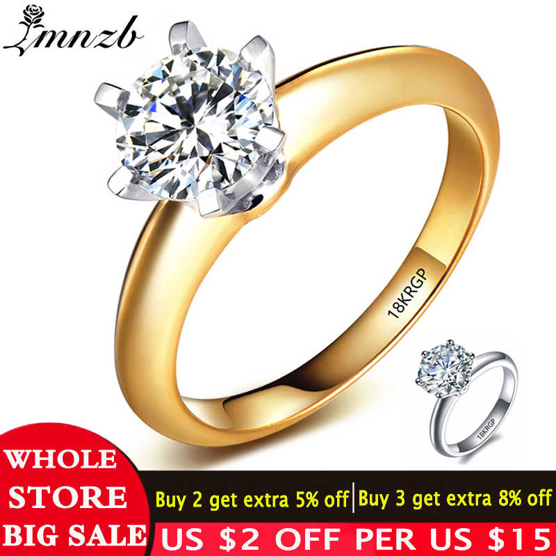 Big 95% Off! LMNZB 100% Pure Original Gold Filled Ring Natural 2 Carat White Solitaire Cubic Zircon Wedding Ring for Women LM168
