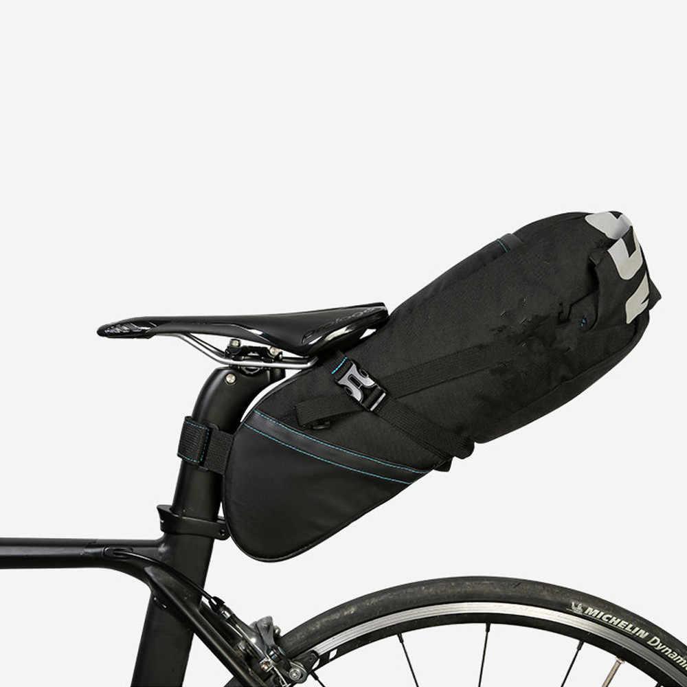 Bisiklet çantası su geçirmez bisiklet çantası bisiklet Seatpost çanta Pannier bisiklet MTB yol arka paketi su geçirmez uzatılabilir 8L 10L