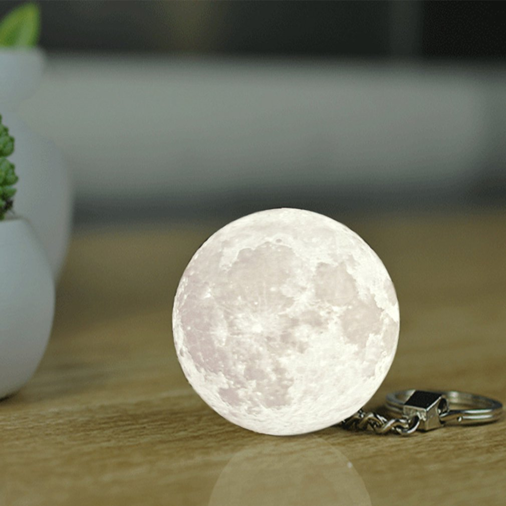Portable 3d Unique Moon Shape Decoration Keychain Night Light - White White Light Durable And Practical Gift Toiletry Kits 2019