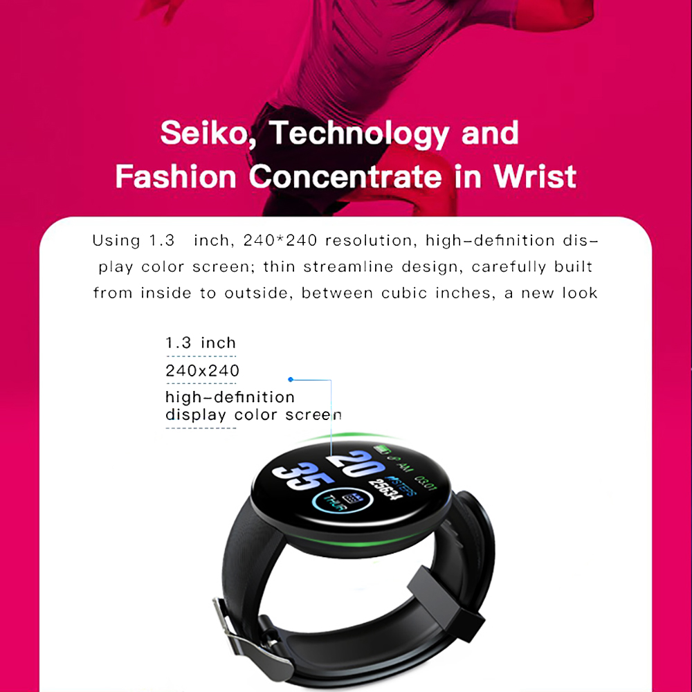 H0eff3cf9e4794715a218b6952591fc130 Smart Watch D18 Blood Pressure Fitness Tracker Round Smartwatch Waterproof Sports Smart Watch Men Women For Android Ios Z2