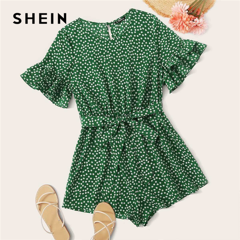 SHEIN Green Ditsy Floral Flounce Sleeve Belted Romper Women 2020 Summer Wide Leg O-neck Boho Rompers Womens Playsuits