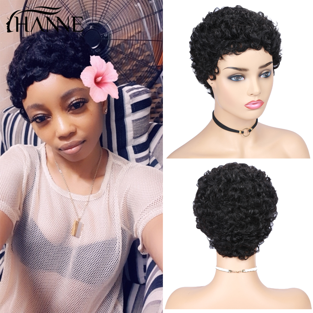 Short Human Hair Wigs Bob Wig For Black Women Brazilian Remy Hair Wig For African American Fluffy Curly Free Shipp HANNE Hair