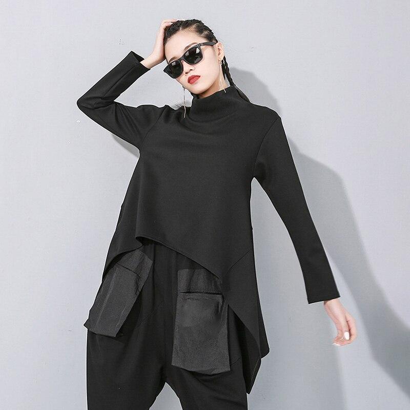 [EAM] Loose Fit Black Split Asymmetrical Sweatshirt New Turtleneck Long Sleeve Women Big Size Fashion Tide Spring 2020 1N482 5