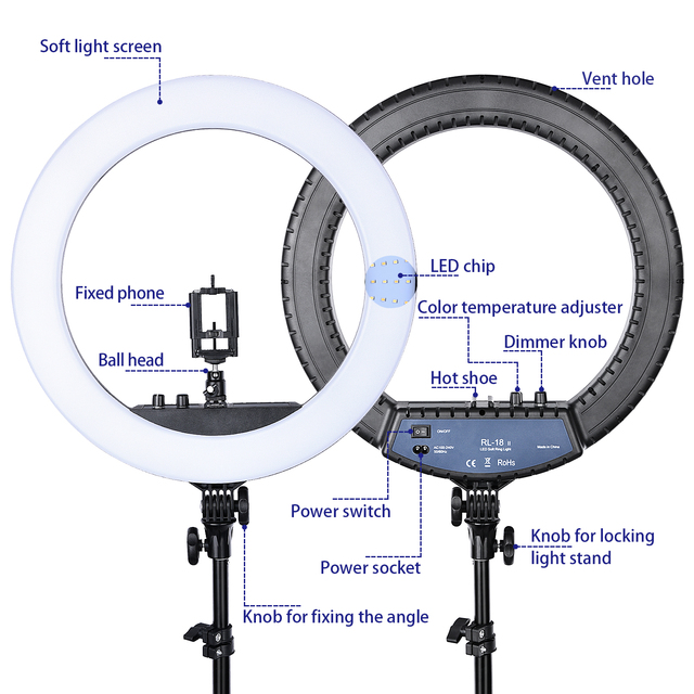 FOSOTO RL-18II Led Ring Light 18 Inch Ring Lamp 55W Ringlight Photography Lamp With Tripod Stand For Phone Makeup Youtube Tiktok 4