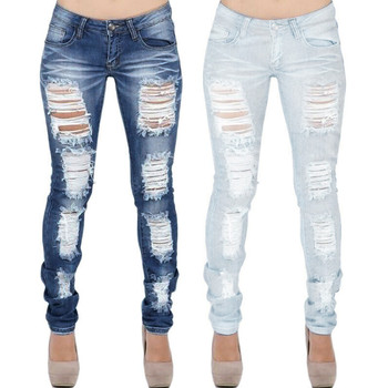 Women Autumn Winter Jeans new Fashion Women Stretch Distressed Ripped Slim Skinny Jeans Trousers Leggings Casual Pants K116