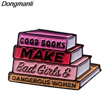 P4813 Dongmanli Book Lover Gift Enamel Pins Brooches Women Fashion Lapel  Backpack Bags Badge Jewelry