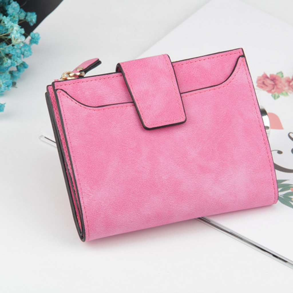 Women's Trend Solid Color Short Leather Retro Style Card Bag Leather Wallet Women Wallets Girls Wallet Cartera Mujer Кошелек