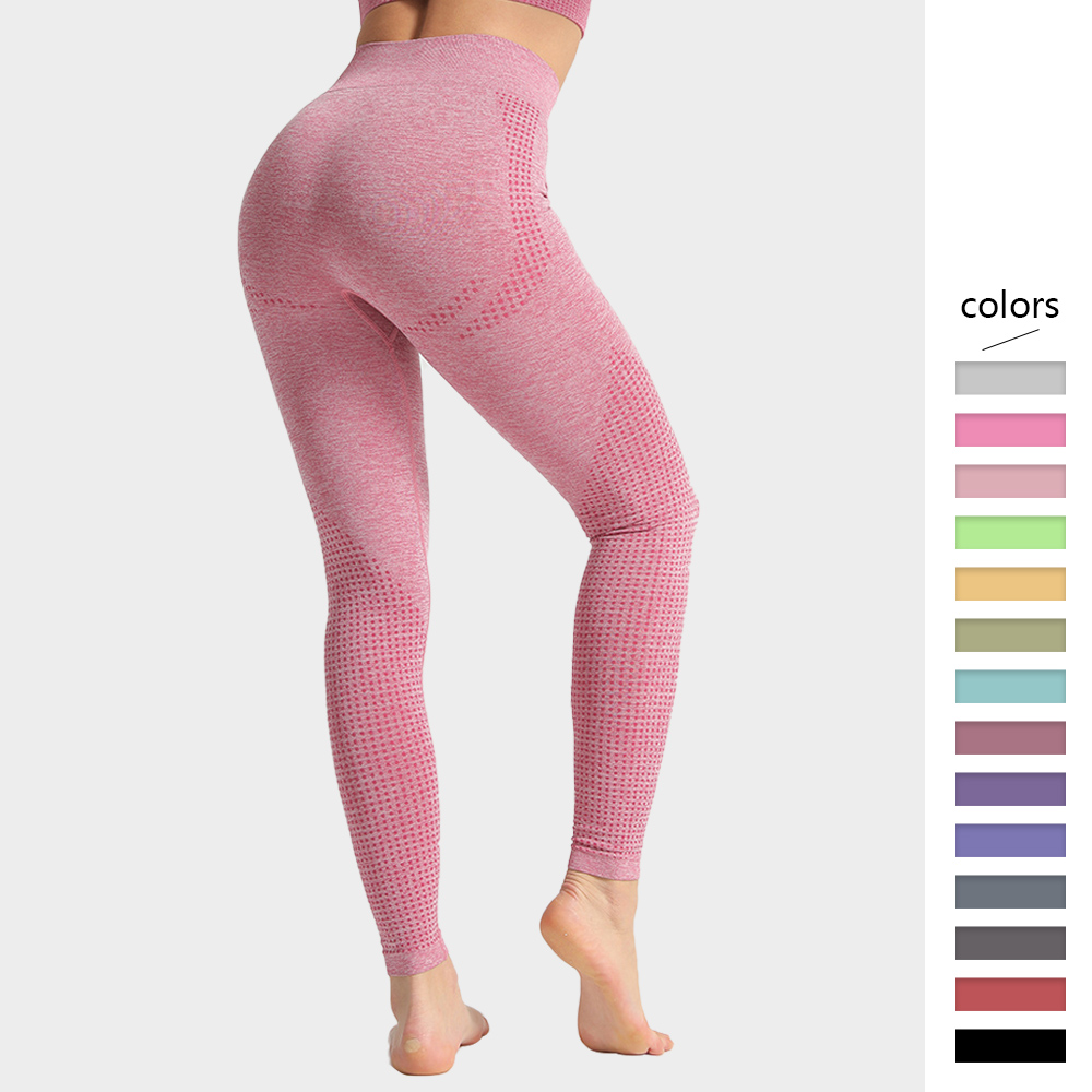 Seamless Leggings Women Fitness High Waist Tummy Control Pants Dot Pattern Workout Pull Up Skinny Trousers Femme