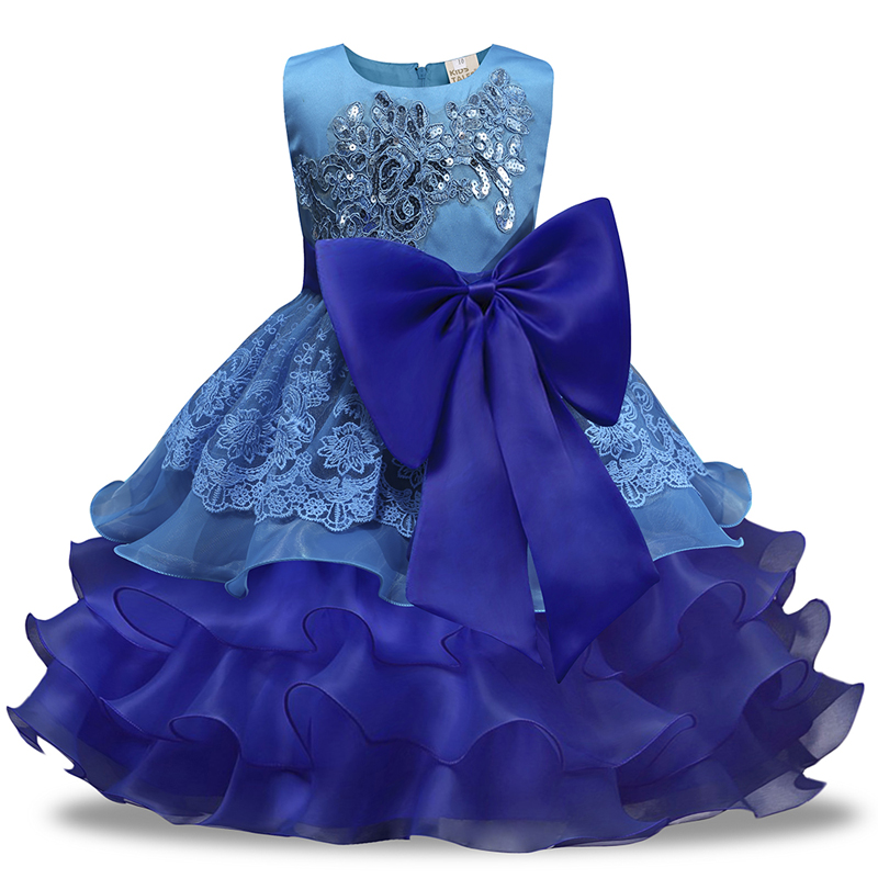 Kids Girls Princess Bridesmaid Wedding Dress Party Bowknot Tutu Dress Age 3-8 Ys