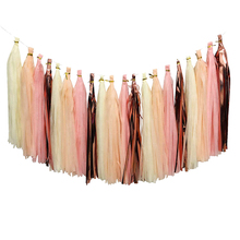 Free ship 20 Tassels DIY Party Garland Decoration Peach Pink Ivory Rose Gold Tissue Paper Tassel for All Events & Occasions