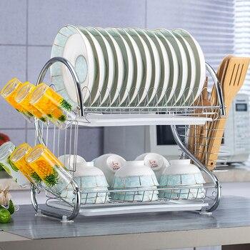 2 niveles de soporte para platos, cesta de hierro chapado para lavado en el hogar, gran fregadero de cocina, escurridor, organizador para tendedero