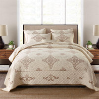 European Solid Embroiedered Double Bed Cover Quilted Bedspread Washed Cotton King Reversible Air Conditioning Quilts 3 piece