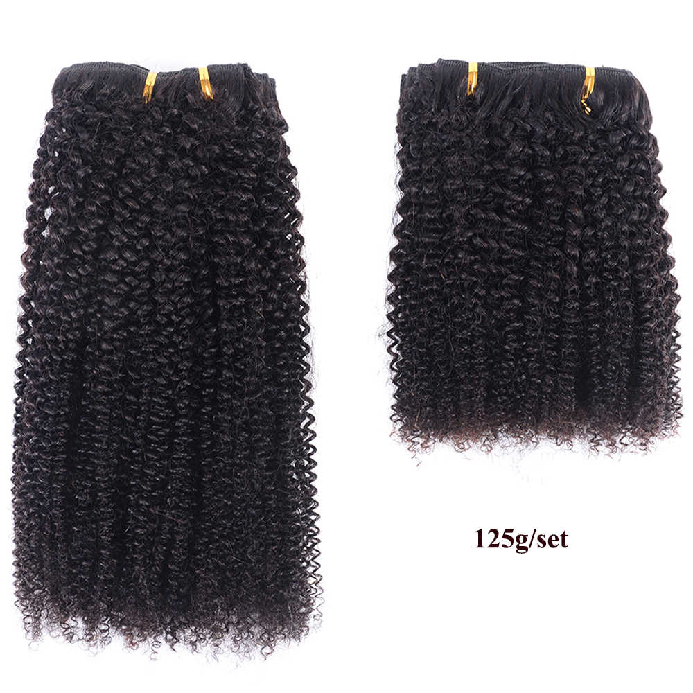 Re4U Afro verworrene Lockige haar Clip in Menschliches Haar Extensions Remy 8 stücke 125G Anti-Rutschen Unsichtbaren clip ins