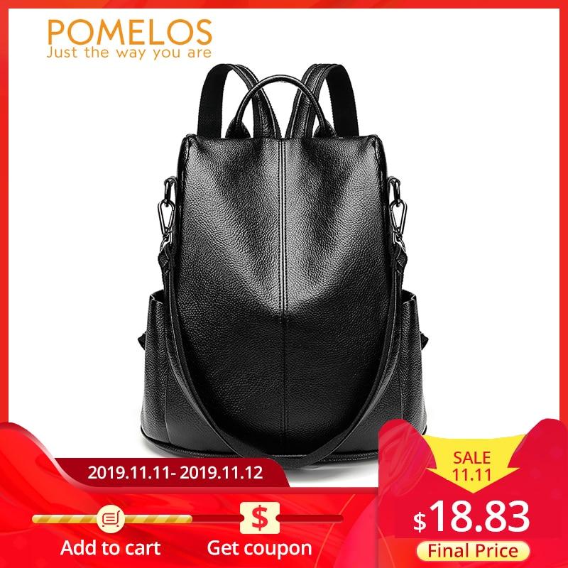 POMELOS, женский рюкзак, высокое качество, мягкий, из искусственной кожи, Противоугонный рюкзак для женщин, водонепроницаемый рюкзак для женщин, уличный стиль, рюкзак-in Рюкзаки from Багаж и сумки
