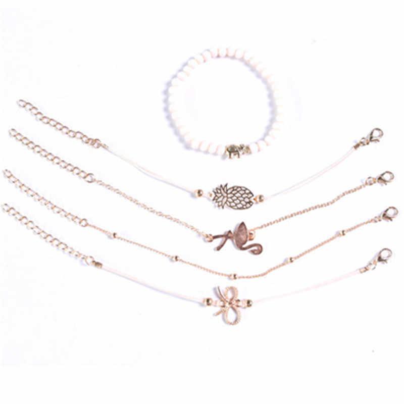 โบฮีเมียนลูกปัดสีดำสร้อยข้อมือกำไลข้อมือแฟชั่นผู้หญิง Heart เข็มทิศ silver Gold กำไลข้อมือชุดเครื่องประดับของขวัญ