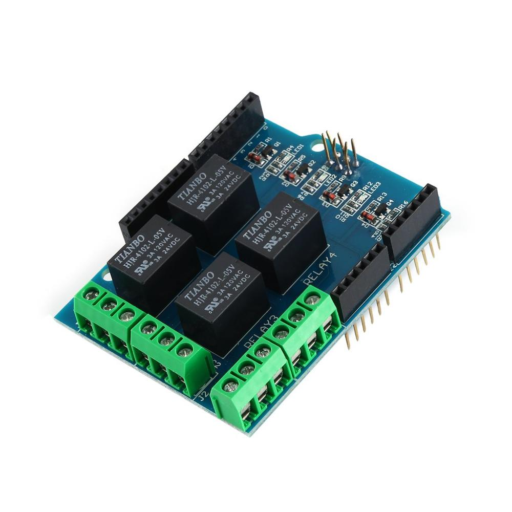 4 Channel 5V Shield Interfaces Relay Module Control Board Relay Expansion Board For Arduino Uno R3 Mega 2560