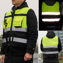 Outdoor Security Reflective Vest High Visibility Pockets Design Women Men Safety Cycling Wear Night Riding #2