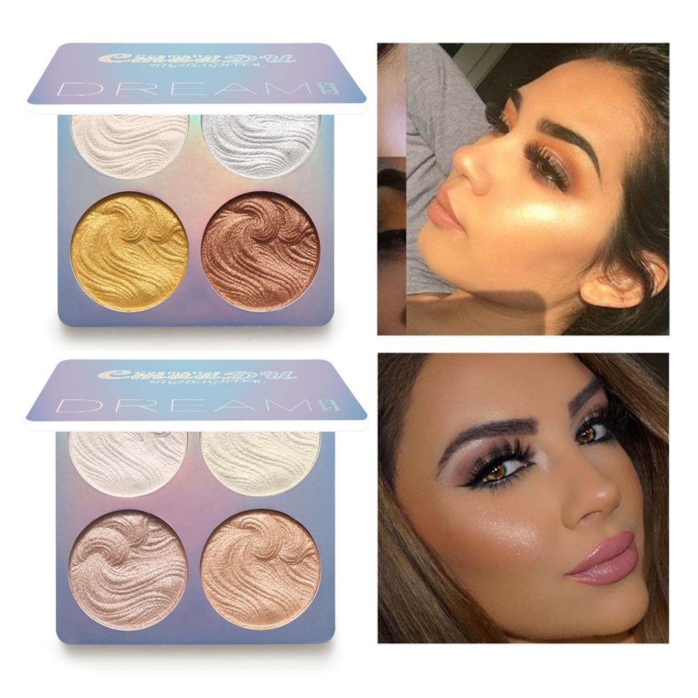 4Color Face Highlighter Palette Bronzer Contouring Highlight Powder Makeup Face Shimmer Shine High Lighter Iluminador Maquillaje
