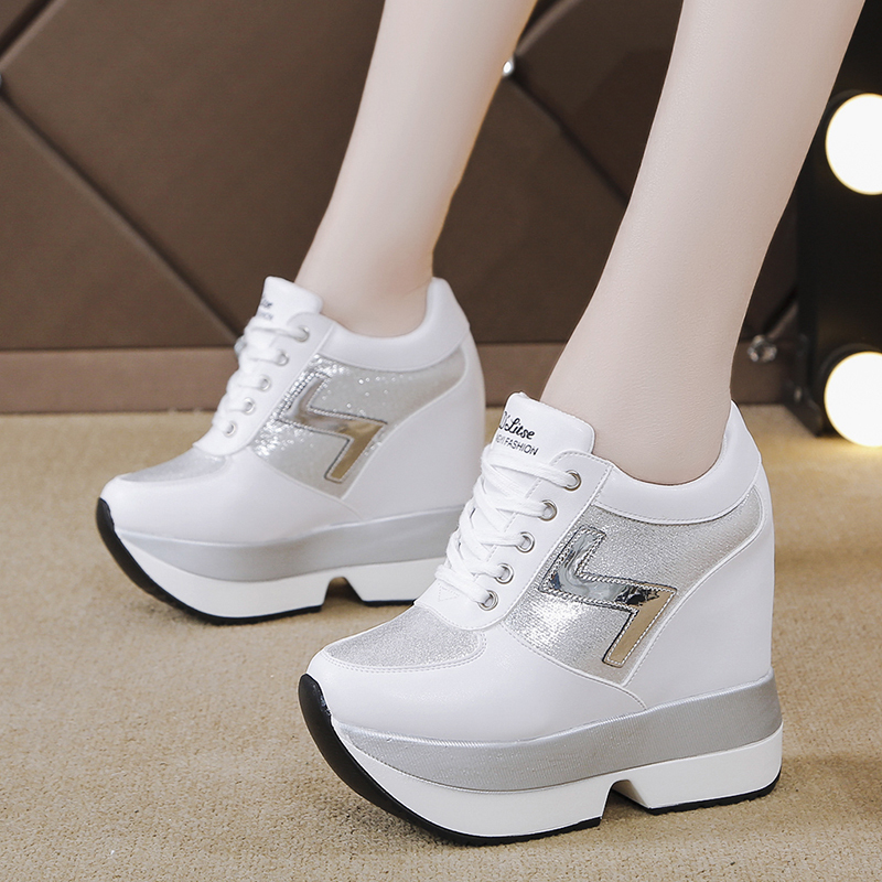 Rimocy Wedges Women Sneakers Glitter High Platform Height Increasing Espadrille Femme 2019 Breathable Casual Shoes Woman Silver