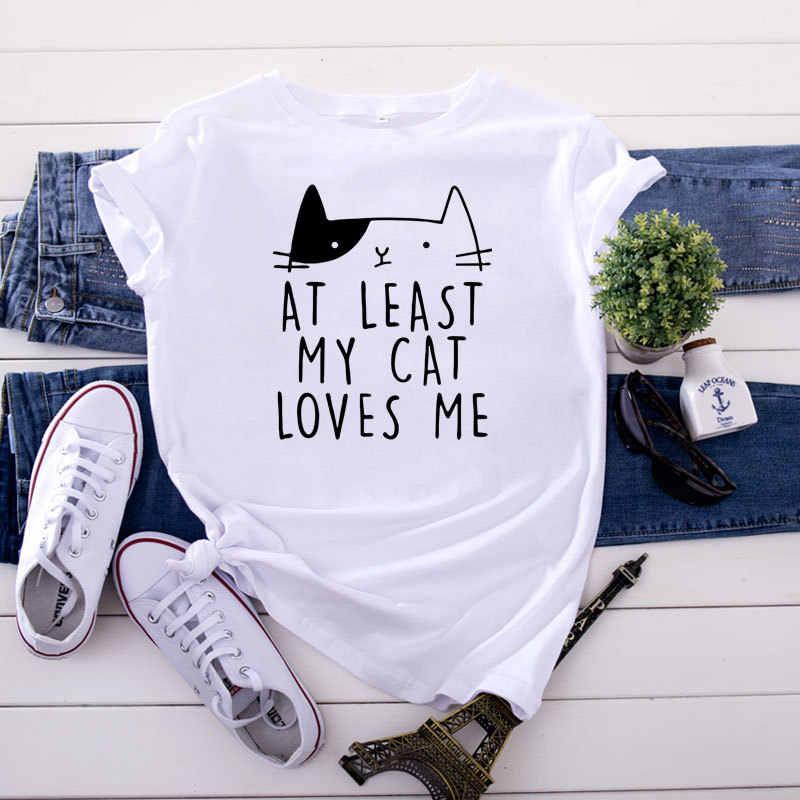 SINGRAIN נשים קיץ חמוד חתול חולצה 100% כותנה O צוואר בעלי החיים בסיסי tees קריקטורה מזדמן רופף מכתב ענקיות הדפסת טי חולצה