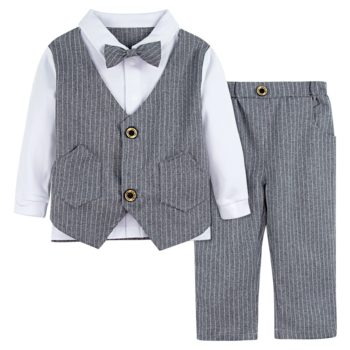 Baby Boys Long Sleeve Tuxedo Infant Gentleman Formal Outfit Toddler Wedding Birthday Party Suit Baptism Clothes Set 2PCS