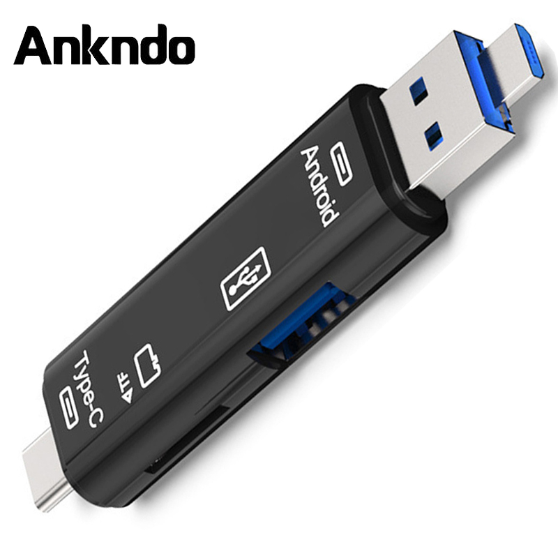 ANKNDO 3in1 Card Reader USB 2.0 OTG Adapter Micro USB To Type C Mobile Phone Adapter Memory TF Card Reader USB Cardreader PC