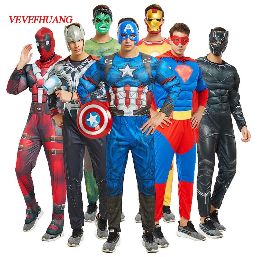 VEVEFHUANG Superhero Costume Cosplay Men Captain America Superman Batman Spider Iron Man Hulk Muscle Costume Halloween Costum