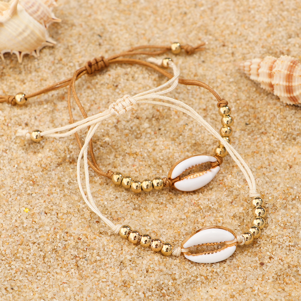 1PC Fashion Shell Bead Bracelets Boho Vintage Cowrie Gold Color Seashell Handmade Adjustable Bracelet Beach Jewelry for Women