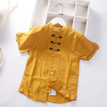 Fashion Cool Fabric Built In Shirts For Teen Boys Teenager Kids Tops Summer Outwear Cotton Casual Buttons Children's Clothes