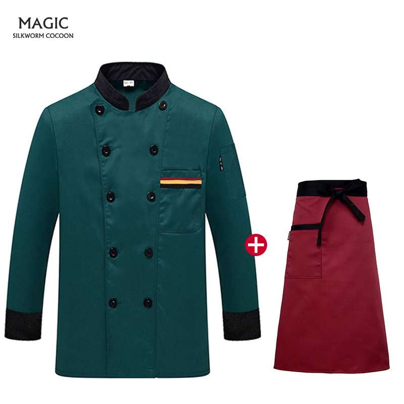 High Quality Workwear Clothing Food Service Chef Top Green Long Sleeve Master Cook Work Uniforms Restaurant Hotel BBQ Kitchen