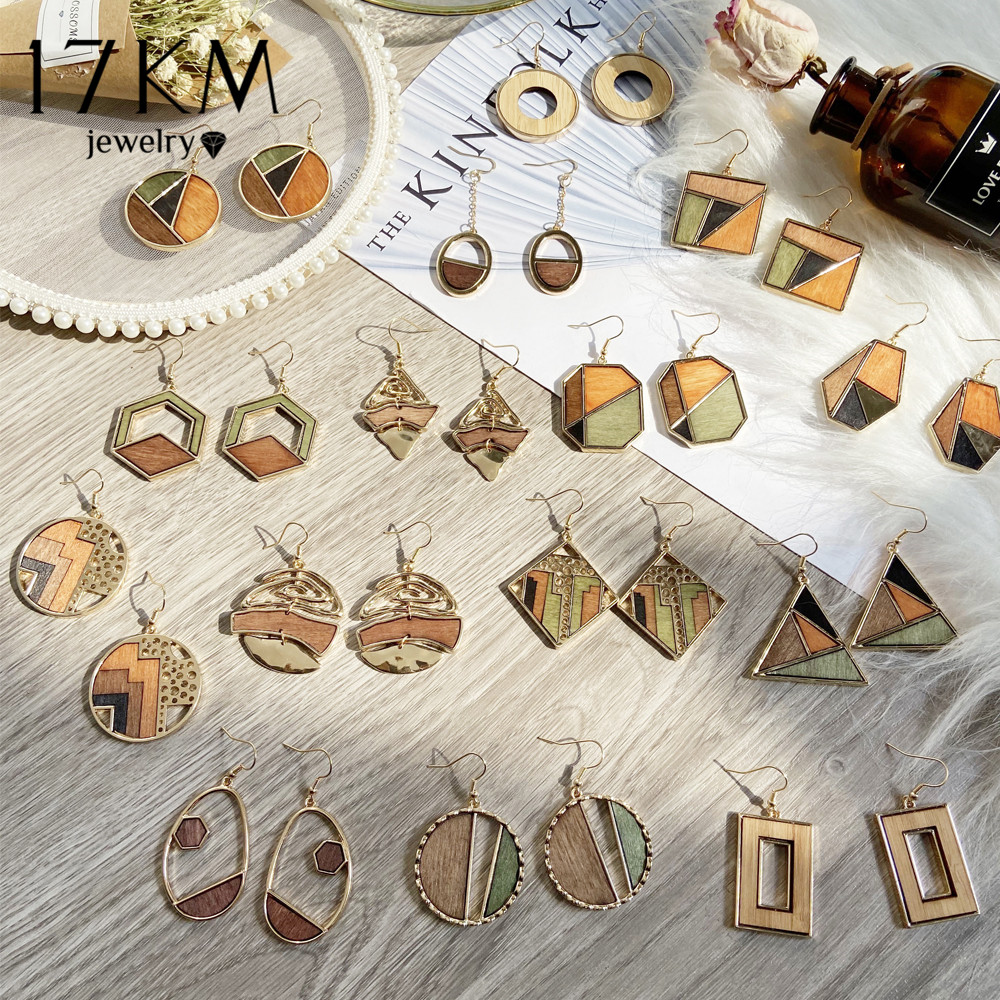 17KM 2020 Boho Geometric Wooden Drop Dangle Earrings For Women Oversize Gold Fashion Big Earring Female Korean Vintage Jewelry