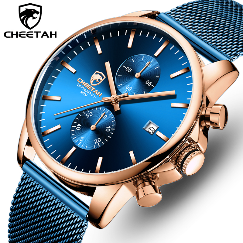 CHEETAH Business Mens Watches Waterproof Quartz Wristwatch Stainless Steel Luxury Watch Men Chronograph Clock Relogio Masculino