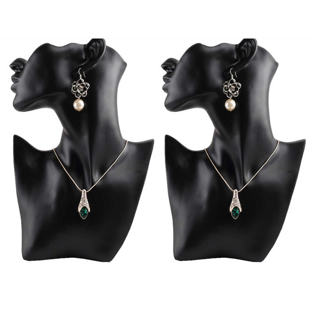 2 szt. Żywica żeński manekin głowa biust stojak Model sklep biżuteria naszyjnik uchwyt