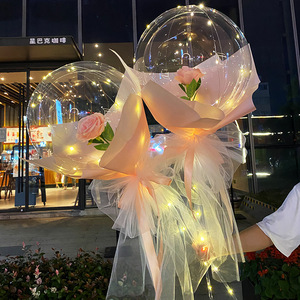 2Pcs/set Plastic Balloon Stand LED Balloons Decor Bobo Baloon Stick Stand With Rose for Glow Party Wedding Christmas