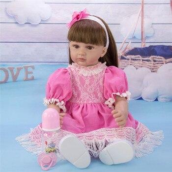 "60cm Reborn Toddler  Silicone Vinyl Limbs baby reborn 24"" Cute Girl Doll Cloth Body Birthday Gift  Play House Bonecas"