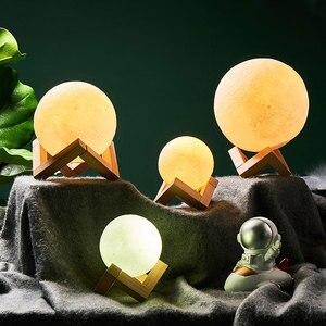 Image 5 - Akumulator lampa księżycowa 2 zmienia kolor 3D włącznik dotykowy światła 3D lampa lampy druku księżyc lampka nocna regałowa do sypialni kreatywne prezenty