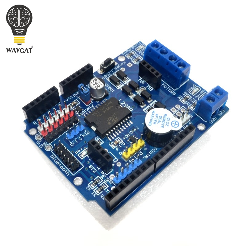 WAVGAT L298P PWM Speed Controller Dual High-Power Driver Bluetooth Interface Motor Shield Board For Arduino L298N Upgrade