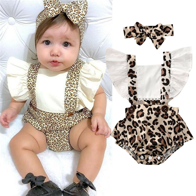 Summer Leopard Baby Clothing Newborn Girl Rompers Cotton Ruffle Jumpsuit Outfit Clothes For Kids Baby Clothes 0-24M