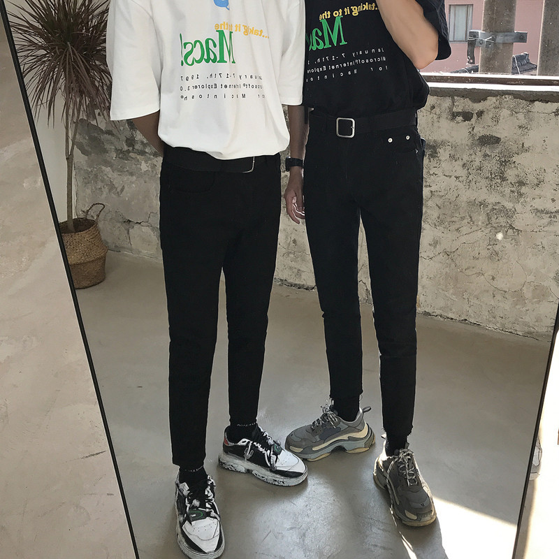 Intfeday Versatile Base-Black And White With Pattern Skinny Jeans Star Fashion Man INS Korean-style Slim Fit Quality