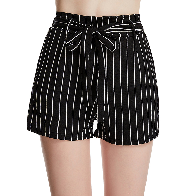 Женские тонкие короткие летние сексуальные женские шорты с высокой талией, простые полосатые пляжные шорты для отдыха, женская одежда