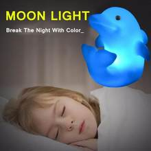 1pc Led Night Light Colorful Dolphin Shape Automatic Color Change Moon Lamp Romantic Love White Energy Saving Luminaria Lighting(China)