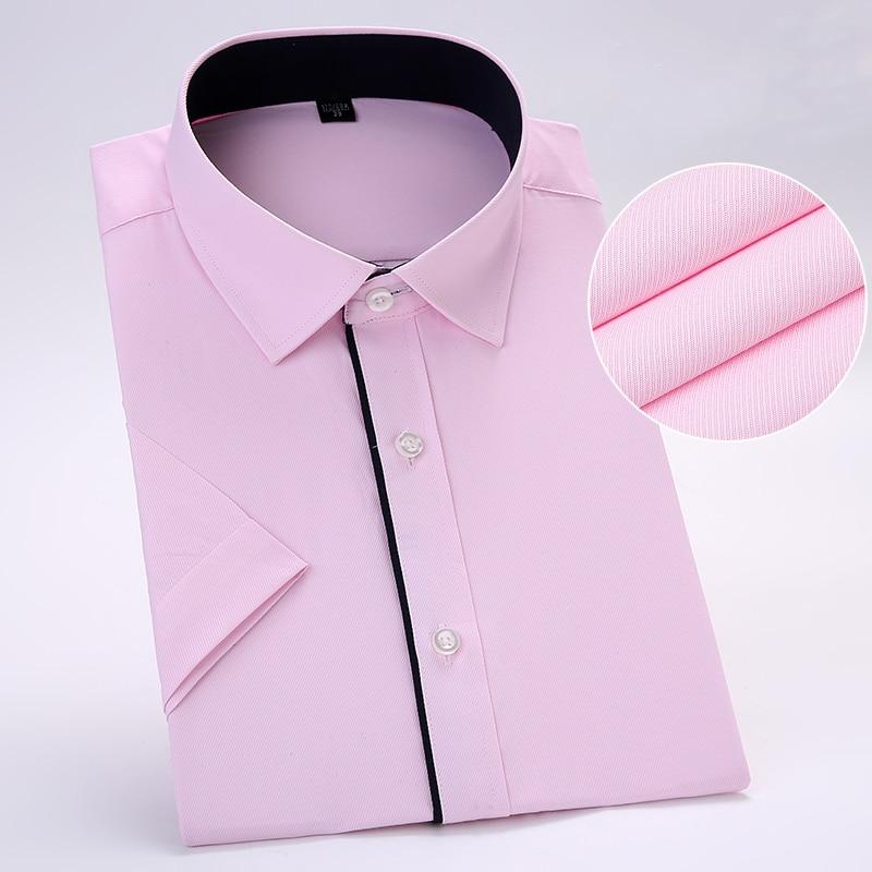 Без нагрудного кармана летние с коротким рукавом Саржевые деловые мужские вечерние рубашки облегающие мягкие удобные - Цвет: D29016